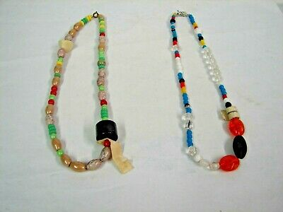 2 Vintage Czechoslovakia Glass Mardi Gras Beads Necklaces W/ Labels
