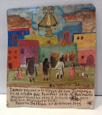 "Vintage 1955 Mexican Ex Voto Retablo 7½"" x 8¾"" - Saved From Losing Our House!"