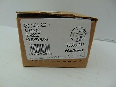 Kwikset 660 3RCAL RCS Single Cylinder Deadbolt in Polished Brass 96600-013