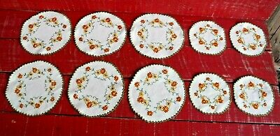 Lot Of 10 Vintage Embroidered Cotton Table Doilies
