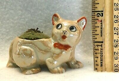 Vintage Lusterware Cat Pin Cushion