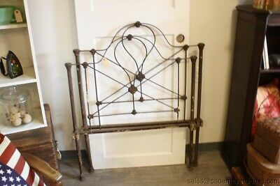 Antique Iron Bed Headboard Footboard Single Small Child's Bed Doll Bod NO RAILS