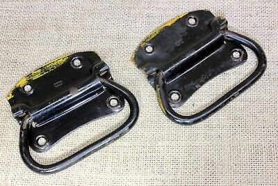 "2 old Tool Box Handles drawer Pulls barn vintage black paint 4 1/8"" STANLEY"