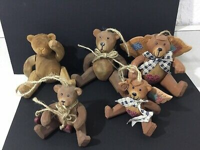 Vintage Teddy Bear Hand Carved Wood Articulated Arms And Legs Figures Lot