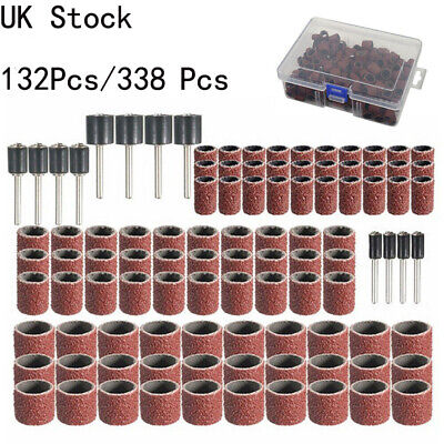 132pc Drum Sanding Kit For Nail Drill Bits Dremel Accessories Rotary Tool UK