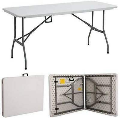 Folding Table Trestle Heavy Duty Plastic Outdoor Camping Garden Picnic 6FT 1.8M