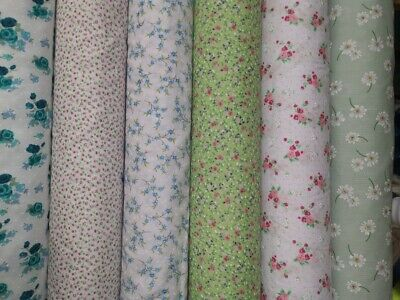 polycotton floral fabric metre vintage shabby chic craft bunting material spring