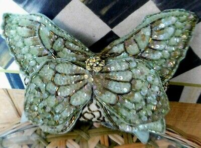 Katherine's Collection Small Sequined Light Green Butterfly Pillow