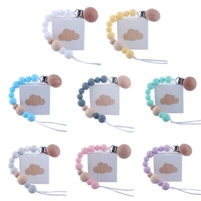 Baby Wooden Beaded Pacifier Holder Clip Nipple Teether Dummy Chain wang JeIaE