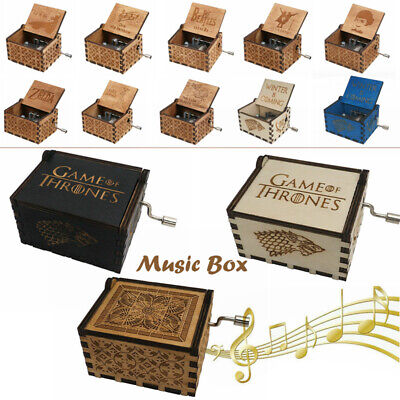 Retro Wooden Music Box Hand Crank Musical Toys Gifts The Beatles Game of Thrones