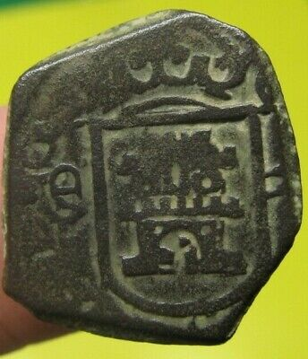 awesome 1680 PIRATE COBS SPANISH 2 Maravedis Colonial Coin Carlos CHARLES II