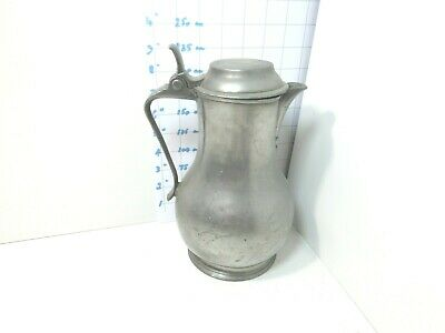 Antique English Pewter Flagon Tudor Rose And Crown  Marks 1800'S