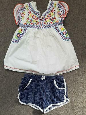 Lovely 2 Piece Outfit,  Emroidered Top And Shorts Set,  6 Yrs, Tu