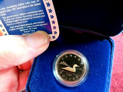 1987 Canada Proof Loon Dollar First Year Issue in RCM Issued Case w/COA