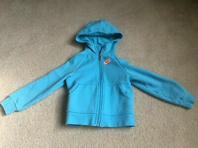 NIKE Girls Size 5/6 Zip Front Light Aqua Hoodie Sweatshirt Nice!!