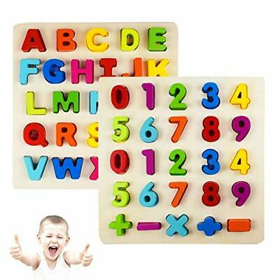 Alphabet Number Puzzle Wooden Pattern Learning Letters For Kids Educational Toys