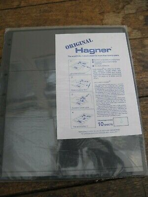 10 x Hagner Stamp Album Stock Sheets  - 3 Strip / Rows - Black Single Sided