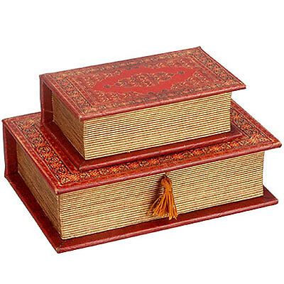 Wooden Book Box And Drawer w/ Faux Leather Cover -87334