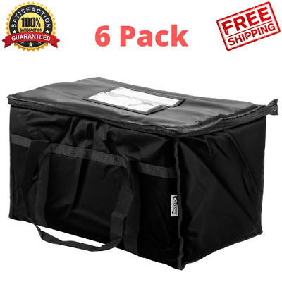 6 PACK Insulated BLACK Catering Delivery Chafing Dish Food Full Pan Carrier Bag
