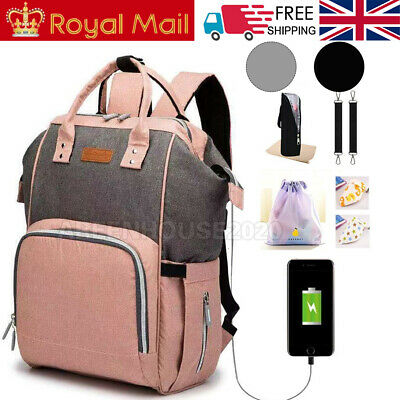 USB Baby Diaper Nappy Mummy Changing bag Backpack Set Multi-Function HospitalBag