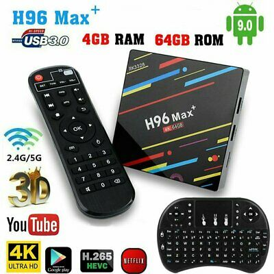 H96 MAX Plus+ Android 9.0 Smart TV Box 4GB/64GB Quad Core USB3.0 WIFI + Keyboard