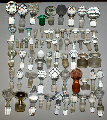 Antique Lot 69 of EAPG and Cut Glass Stoppers Cruet Apothocary Decanter Bottles