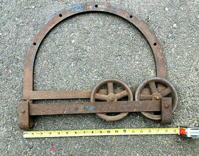 "A Single Large Antique Horseshoe Barn Door Roller, -  14 x 17"" - Double Wheels"