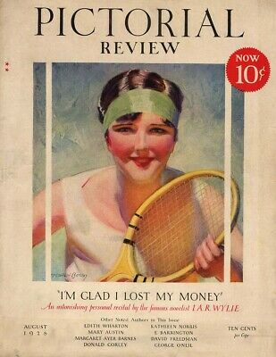 PICTORIAL REVIEW COVER 1928 woman tennis player by McClelland Barclay