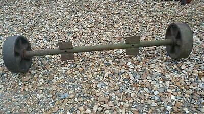 """2No. 9"""" Antique Wheels for CART or Trolley  base 38 ½"""" outside of wheels"""