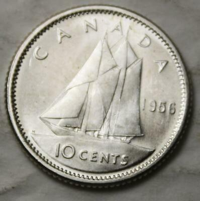 Canada 1956 Silver 10 Cents, Near Gem Brilliant Uncirculated, Lustrous