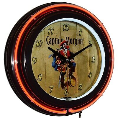 "Captain Morgan Original Spiced Rum 15"" Double Neon Clock Bar Man Cave Decor"
