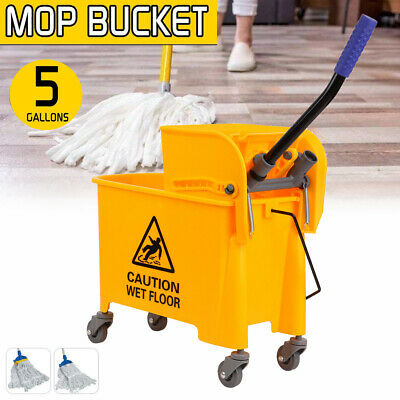 5 Gallons Commercial Wet Mop Bucket & Wringer Combo Side Press Cleaning Cart
