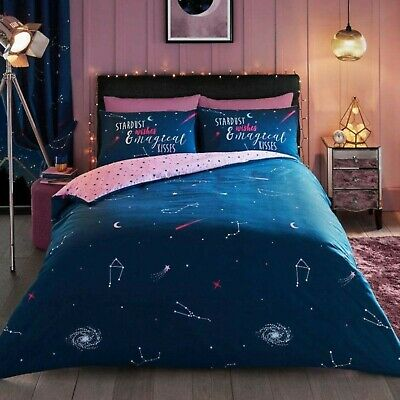 Astro Cat Grey Black Duvet Cover Stars Space King Quilt Bedding Set Pillow Case