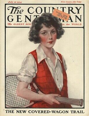 COUNTRY GENTLEMAN COVER 1924 pretty girl tennis player by J Knowles Hare