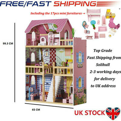 Wooden Kids Doll House With 17PCS Furnitures Fits Barbie Dollhouse Toy UK FAST