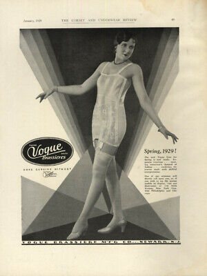 Spring line is now ready! Vogue Brassieres bra / girdle ad 1929