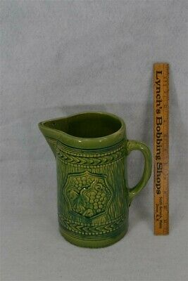 antique pitcher green yelloware pitcher brush McCoy pottery grapes 1900