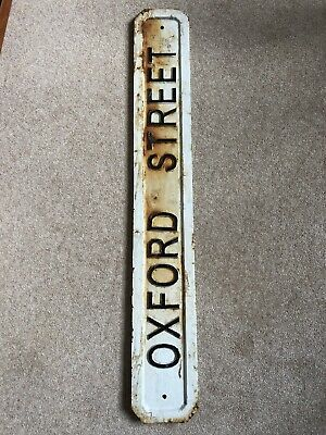 Antique Victorian Cast Iron Road Street Sign OXFORD STREET