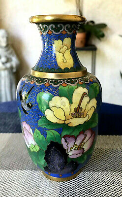 Cloisonné Blue Floral Vase W Poppies & a Blackbird 6.25in Tall