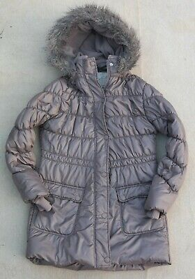 NEXT Girls Brown Quilted Padded Fleece Lined Hooded Jacket Polyester 11-12 Years