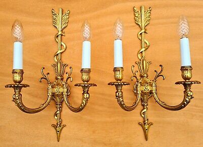 """Beautiful pair vintage French """"Empire""""- style wall sconces ++"""