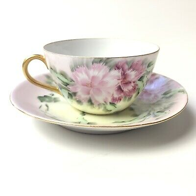 Hand Painted Dianthus Pinks Flowers Porcelain Tea Cup and Saucer Artist Signed
