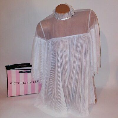 Victoria Secret Lingerie Babydoll Night Gown Small Ivory Pleated Sheer Lace