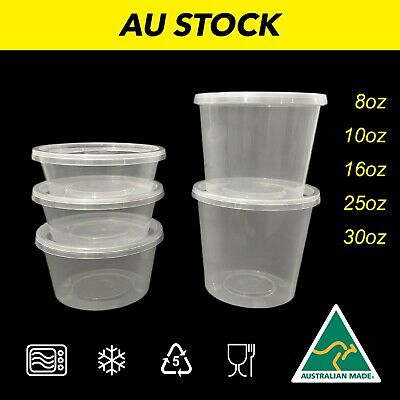 Takeaway Plastic Food Containers Round Plastic Storage Container Bulk AUST. MADE