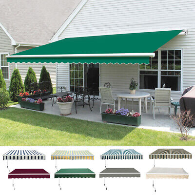 Manual DIY Patio Awning Outdoor Garden Canopy Sun Shade Retractable Shelter