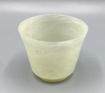 Antique Chinese Carved Celadon Jade Cup / Bowl