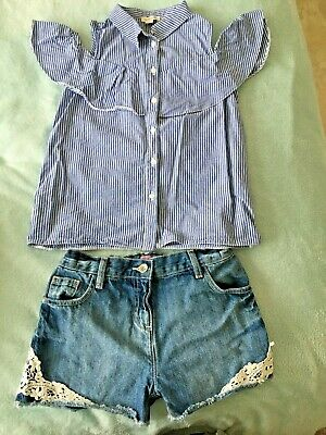 Girls Age 10 River Island Cold Shoulder Blouse & Age 10-11 F&F Shorts Romany