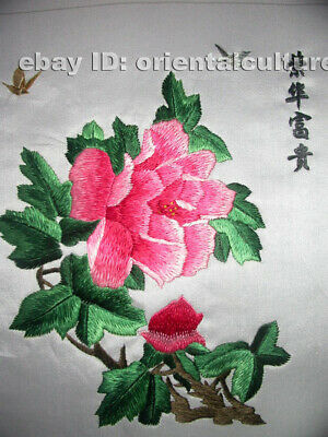 """Chinese 100%hand embroidered silk suzhou embroidery art:peony butterflies 8"""""""