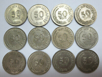12 Singapore first series coins 50 / fifty cents wholesale lot 1967 to 1980 1981