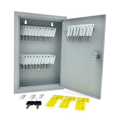 Huron Locking Gray Metal Key Cabinet Holds 30 Slotted Keys